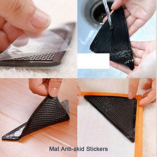 CGBOOM Teppichgreifer Antirutschmatte für Teppich Gummi Anti-Rutsch Pad Teppichunterlager Eck-Teppich-Greifer Aufkleber Selbstklebende Teppichstopper waschbar wiederverwendbar 8 Stück -
