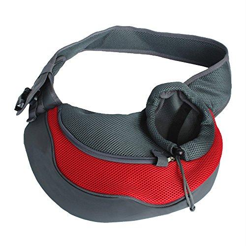 Spring Fever Outdoor Pet Tragetuch Verstellbar Angenehm Freisprechanlage Schultertasche für Hund Katze, L, Rot -