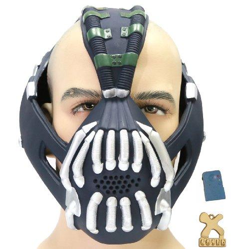 Halloween Maske mit Voice Changer Cosplay Kostüm Herren Halloween Verrücktes Kleid Latex Helm Replik für Party (Batman Maske Bane Von)