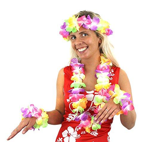 12x 4Stück Hawaiikette + Armbänder + Kopfbedeckung Fancy Kleid Zubehör Dick Hibiskus Blume Halskette Hula Flower Beach Party Bulk (Sexy Hula Kostüme)