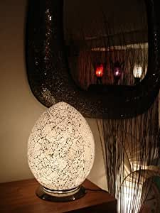 Stylish Glass Mosaic, Egg Shaped Table Lamp - Silver / White