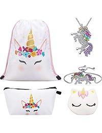RHCPFOVR Licorne Cadeaux pour Les Filles 6 Pack, Licorne Cordon Sac à Dos/Sac à Maquillage/Collier Pendentif Licorne/Bracelet/Cheveux Attaches/Sac Cadeau