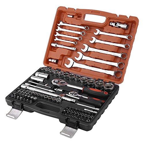 82 tlg. Ratschenkasten 1/2 Steckschlüsselsatz 1/4 Schraubenschlüssel Koffer SET