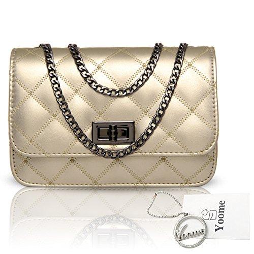 Borse a tracolla Yoome Rhombic Pattern Alley Style Borse Donna Borse Purse Crossbody Bags per Ragazze - Oro Oro