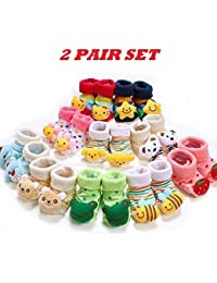 Ninos World Baby Cotton Cartoon Face Socks Cum Shoes, 0-6 Months (Multicolour) - Set of 2 Pair