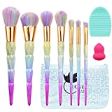 Pennelli da trucco, Lover bar 7PCS pennello illuminante Rainbow make up kit Sleek Foundation Cream Contour polvere glitter eyeliner, sopracciglia Sculpting Cheek Blusher Bronzer bellezza spugnetta (3D Colourful)