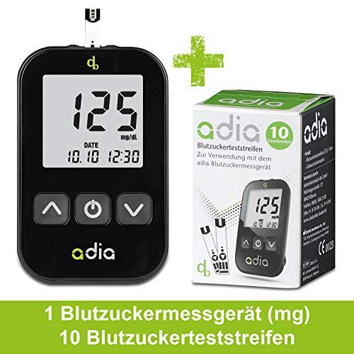 adia Blutzuckermessgerät (mg/dl) inkl. 10 Teststreifen für Diabetiker zur Kontrolle des Blutzuckers bei Diabetes