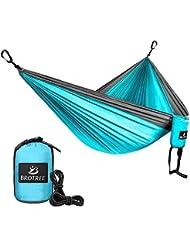 Brotree Hamac Double Parachute de Voyage Camping Portable Ultraléger en Nylon Hamac Suspendu avec 2 Sangles et 2 Mousquetons Pour Randonnée Jardin Plage