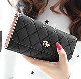 Malloom® Women Clutch Long Purse Leather Wallet Card Holder Handbag Bags (Black)