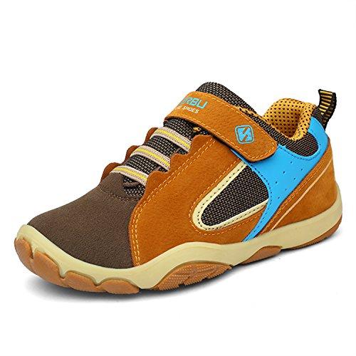 SAGUARO Jungen Trekking Wanderschuhe Kinderschuhe mit Klettverschluss Leicht Sport Schuhe Outdoor Laufschuhe Mädchen Turnschuhe Sneaker Braun, 30 EU