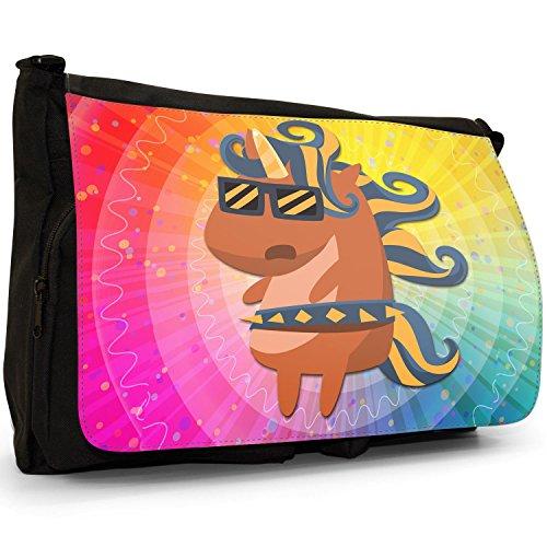 Rock Superstar Popstar Einhorn mit Sonnenbrille Große Messenger- / Laptop- / Schultasche Schultertasche aus schwarzem Canvas