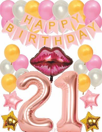 MEANT2TOBE Party-Dekorationsset zum 21. Geburtstag rose