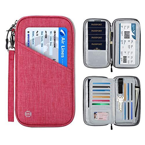Vemingo, porta passaporto con design a fisarmonica RFID, da viaggio, porta biglietti e documenti, con cerniera, per donne e uomini Rosa Deep Pink Standard