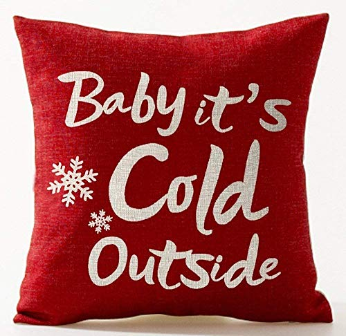 DEFFWBb Baby It's Cold Outside Letters Idea Merry Red Background Decorative Throw Pillow Case Cushion Cover Square 18