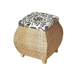 Cubes De Stockage Boîte De Escabeau Ottomans, Maison Nordique Grande Tabourets De Stockage De Rotin Simple Capacité D…