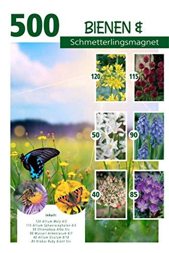 Quedlinburger Bienen- und Schmetterlingsmagnet, bunte Blumenzwiebelmischung aus farbenfrohen Frühjahrsblühern, 500 Stück
