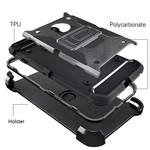 """iPhone 7 Plus Housse , SHANGRUN Hybrid Defender Case Silicone Couche Silicone et PC Antichoc avec Béquille Etui et Clips Ceinture Pivotant Housse pour iPhone 7 Plus 5.5""""/ iPhone 8 plus Noir Rose"""
