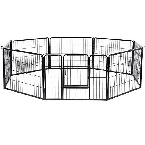uf Welpenlaufstall Tierlaufstall Freilaufgehege Hundelaufstall Welpenzaun Absperrgitter Zaun Gitter Welpen Hasen Kaninchen 8-Eck grau 77 x 60 cm PPK86G ()