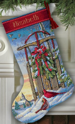 16 Long Gold Collection Christmas Sled Stocking Counted Cross Stitch 8819 (Gold Christmas Stockings)