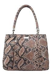 Leaderachi - 100% Pure Genuine Real Leather Ladies Handmade Anoconda Printed Handbag [SAVONA]