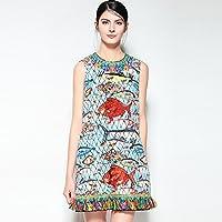 HYW Vestido de la Falda del Chaleco de Cuentas de Moda Borla de Primavera Y Verano de Moda Peces Borla,Azul,L
