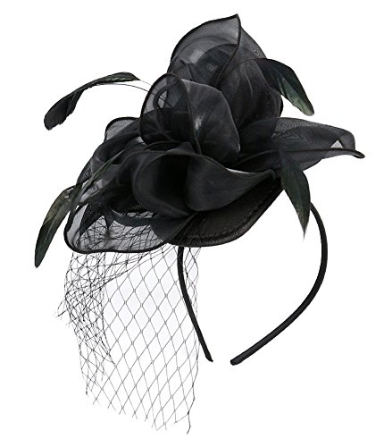 EEVASS Damen Tulle Feather Fascinator Cocktail Hut Haarclip Hochzeit Derby Party (##2 Schwarz)