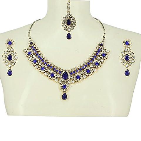 Collier mariée sur mariage Bijoux Collier boucle d'oreille Maang Tikka bleus perles blanches