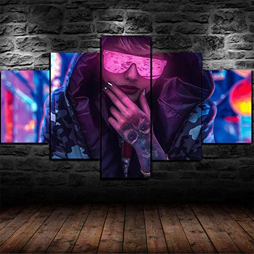 13Tdfc Leinwanddrucke Kreatives Geschenk 5 stück Leinwand Bilder Moderne Wandbilder XXL Wohnzimmer Wohnkultur Gerahmtes Science-Fiction-Computer-Science-Fiction-Tätowierungs-Mädchen-Sweatshirt-Plakat