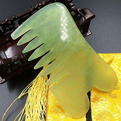 Jade Gua Sha Scraping-Massage-Werkzeug Hand Made Jade Guasha Brett, Werkzeuge für Graston SPA Akupunktur-Therapie Triggerpunkt-Behandlung auf Gesicht Arm Fuß (Kamm) (Jade-kamm)