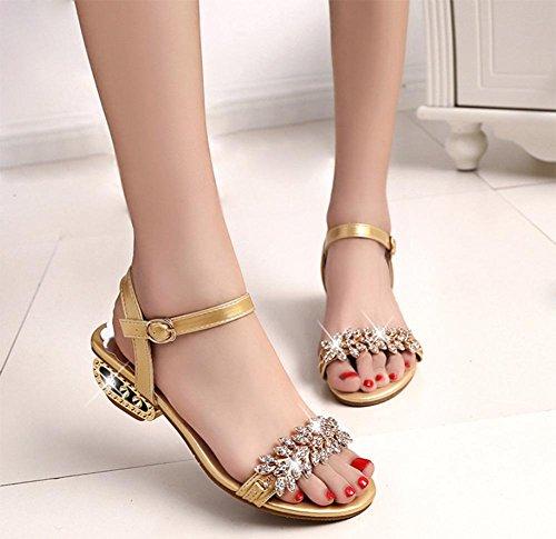 Sommer Sandalen mit niedrigen Absätzen Strass Sandalen Frauen flache Sandalen und Pantoffel, dick mit offenen Schuhen Frau Gold
