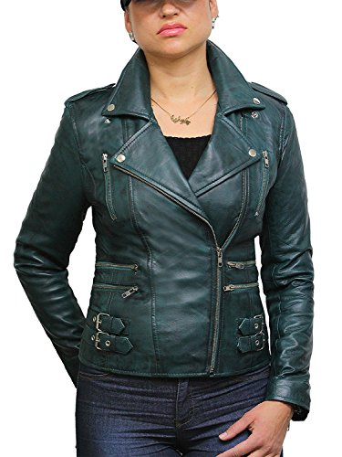71bc7fd9ef58 Ladies Womens 100% Real Leather Biker Jacket Green Fitted Bikers Style  Vintage Rock (Medium10