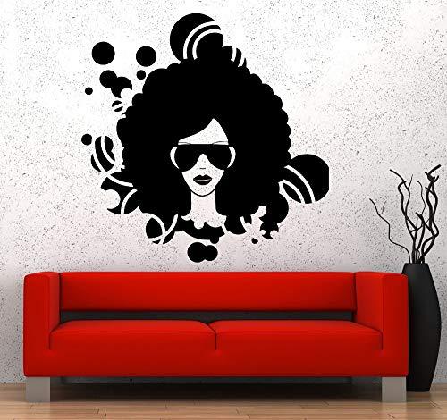 Wand Vinyl Aufkleber Wohnkultur Wohnzimmer Sofa Hintergrundmusik Schwarz Afro American Girl Disco Garantierte Qualität Aufkleber57x58 cm (Ihr Körper American Girl)