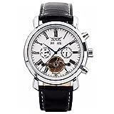 GuTe, orologio da polso, da uomo, quadrante bianco, in acciaio, meccanismo Tourbillon automatico
