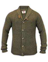 Mens Cardigan Jumper Tokyo Laundry Knit Wool Mix Sweater Patches Top Shawl Neck 865