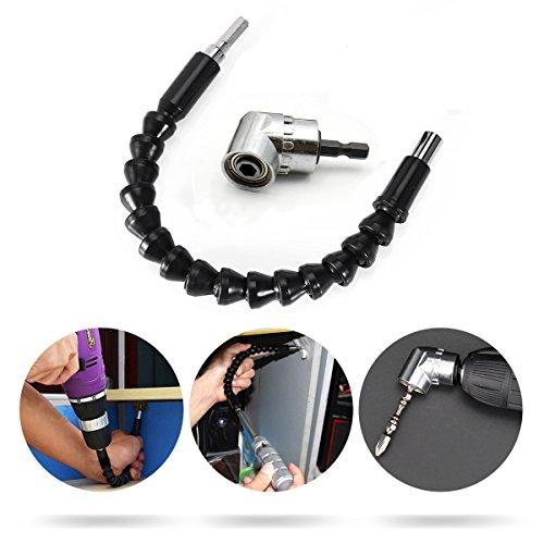 Estmoon Flexible Schaft Bits Bohrer Verlängerung und 105° Winkelschrauber Vorsatz Adapter mit 1/4-Zoll Schnellwechsel und Magnetischen Bit Halter