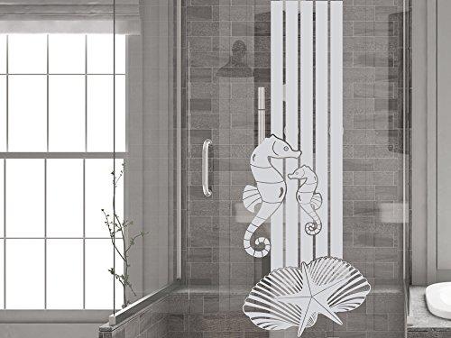 GRAZDesign 980192_30 Fenstertattoo Streifen mit Seepferdchen/Muscheln | Fensterfolie für Badezimmer - Glastattoo für Dusche (79x30cm)