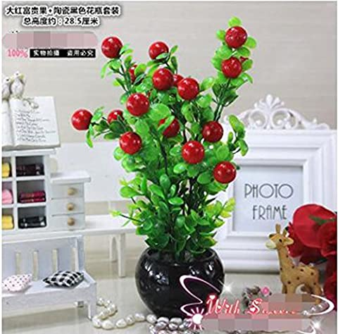Simulation green plant pottery fruit tree bonsai artificial plastic fake living room bedroom sill home furnishings
