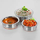 OnMall Stainless Steel Copper Bottom Multipurpose Cook & Serve Handi Sets Of 3 Pc (Small To Medium)