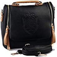 Black Women's Vintage Leather Cross body Shoulder Bag Casual Clutch Totes Messenger Evening