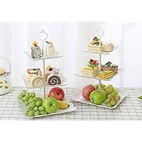 "Plastic Imitation Ceramics 3 Tier Square Cake Stand 6""&8""&10"" Party Food Server Display Set Dessert Stand Slate Serving Set for Sweet time(2Sets)"