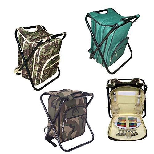 Picknick Rucksack 2 Person Picknick Rucksack Angeln Hocker Camouflage Oxford Tuch Stil beinhaltet 12 Stück Esszimmer Isoliert abwaschbar (Color : Camouflage Green) - Stil Ein Stück Tuch