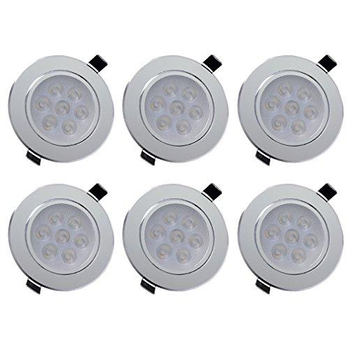 Anten 6 x flache 7W LED Einbaustrahler Schwenkbar Ultra LED Modul 230V LED Deckenstrahler Einbauleuchte Deckeneinbaustrahler Einbauspot Einbaustrahler Deckeneinbauleuchte Deckenspot,550lumen,Warmweiß 2800-3200K aus Aluminium