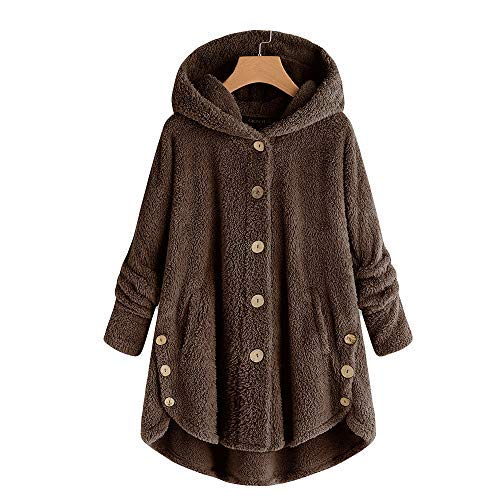 iHENGH Damen Herbst Winter Bequem Mantel Lässig Mode Jacke Mode Frauen Knopf Mantel Flauschige Schwanz Tops Mit Kapuze Lose (XXL, Kaffee) Mode-quad