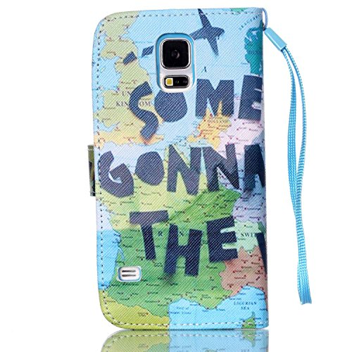 Meet de Samsung Galaxy S5 i9600 Bookstyle Étui Housse étui coque Case Cover smart flip cuir Case à rabat pour Galaxy S5 Coque de protection Portefeuille - this iphone is locked slide to unloke monde global