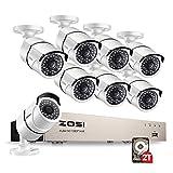 ZOSI 8CH 1080p PoE NVR Système de Surveillance avec 8pcs Caméras IP PoE Surveillance Extérieure 2.0MP P2P Système avec 2 to HDD pré-installé