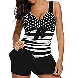 KEERADS Tankini Damen Bauchweg Große Größe V-Ausschnitt Streifen Polka Dot Bademode Schwimmkleid + Shorts (3XL, Schwarz)