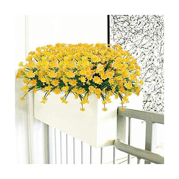 Hzaming – Juego de 4 margaritas artificiales para decoración de exteriores o interiores (4 unidades), Amarillo, 4 pcs