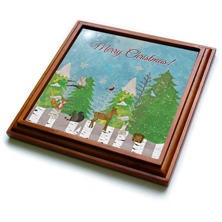 Beverly Turner Christmas Design - Woodland Christmas, Deer, Fox, Woodchuck, Owl, Birds, Bunny, Squirrel - 8x8 Trivet with 6x6 ceramic tile