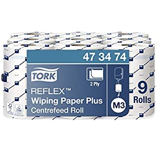 Tork 473474 Reflex Wiping Paper Plus / 2 Ply Absorbent Advanced Paper Roll Suitable for Tork M3 Centrefeed Reflex Mini Roll System / White / 9 x 67m / Ø 12.7cm