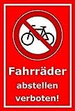 Aufkleber – Fahrräder abstellen verboten - 30x20cm – S00050-042-D +++ in 20 Varianten erhältlich